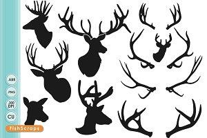 Deer Head Silhouettes - ClipArt