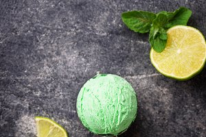 Ice cream ball with mint and lime