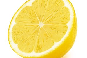 Half of lemon fruit slice isolated on white