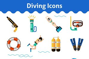 Scuba diving icons set