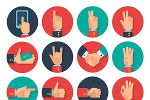 Body language hand gestures icons