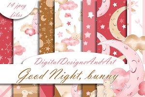 Good night bunny digital paper