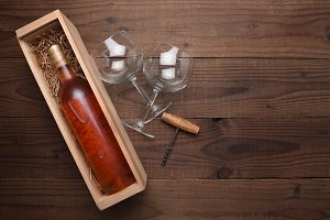 Blush Wine Bottle in Wood Box