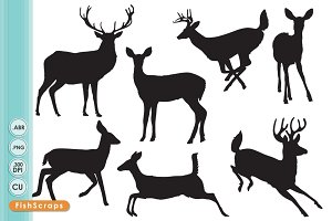 Deer Silhouettes - ClipArt & Brushes