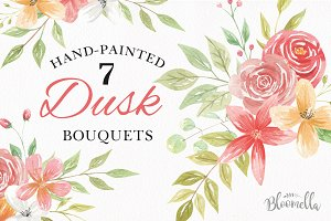 Watercolor Dusk Floral Clipart Set