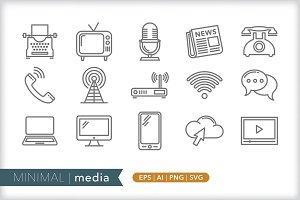 Minimal media icons