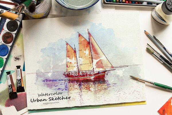 Photoshop Actions: SlideSalad - Watercolor Urban Sketcher PS Action