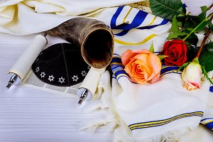 Torah scrolls and a musical horn