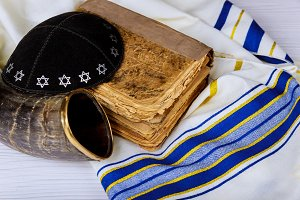 Prayer Shawl Tallit and Shofar horn
