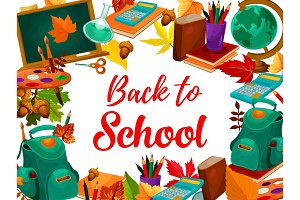 Education supplies poster, back to school design