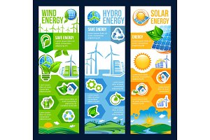Save energy banner of solar, wind and hydro power