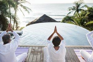Group of senior friends yoga
