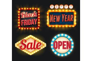 Black Friday sale New Year open vector retro icons