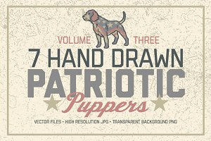 7 Hand Drawn Patriotic Puppers Vol 3