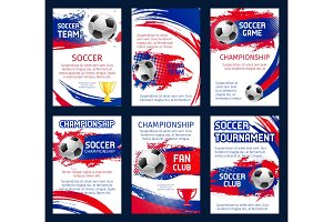 Vector world soccer championship posters
