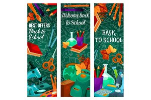 Back to School vector autumn sale banners