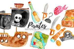 Watercolor Pirate Clipart