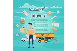 Delivery of post mail service vector poster