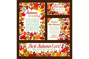 Autumn posters banner of vector leaf fall