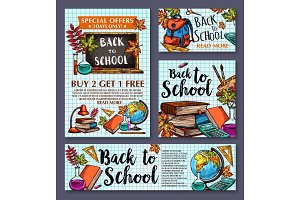 Back to School vector sale offer poster banner
