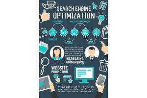 Vector search engine optimization internet poster