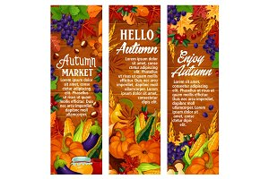 Autumn vector leaf fall, harvest season banners