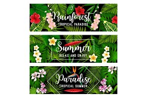 Summer tropical vacation and holiday banner