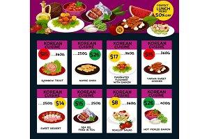 Korean cuisine menu design