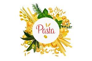 Pasta vector Italian macaroni poster