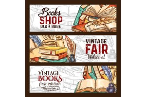 Vector sketch banners vintage books shop fair