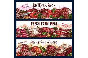 Vector banners with fresh meat