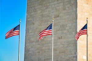 Flags near Washington Monument, USA