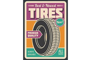Tires car service retro style