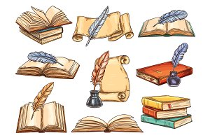 Vintage books vector set