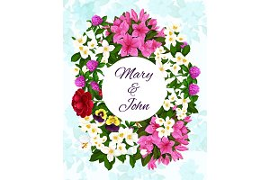 Save the Date wedding flowers vector invitation