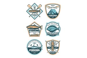 Fishing sport icons set