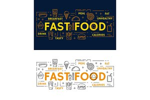Vector banners with fast food