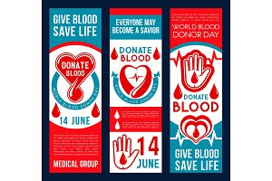 Blood donation vector banners