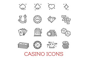 Casino symbols vector set