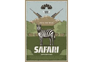 Safari adventure vector poster