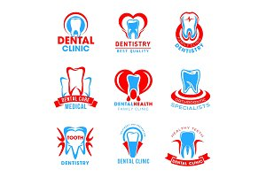 Vector set of dental clinic icons
