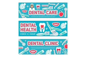 Dental care vector banners