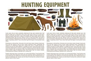 Hunting equipment vector template