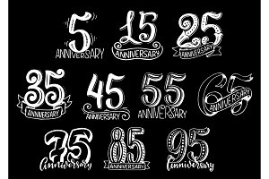 Vector set with anniversary numbers