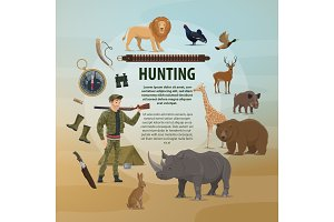 Vector poster hunting concept