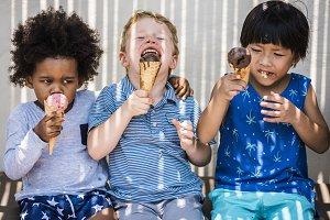 Children enjoying with ice cream