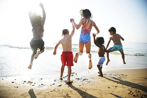 Children having fun on the beach