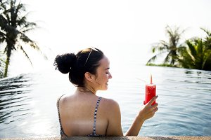 Woman enjoying a watermelon drink