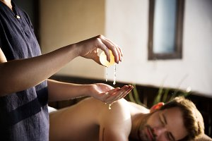 Man relaxing from a spa treatment