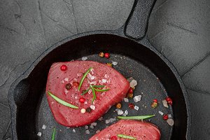 Raw Tuna fish steaks